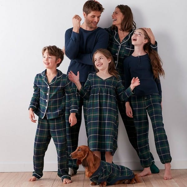 Family Matching Blue and Green Plaid Holiday Pajamas