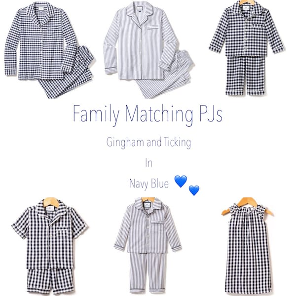 Family Matching Navy and White PJs