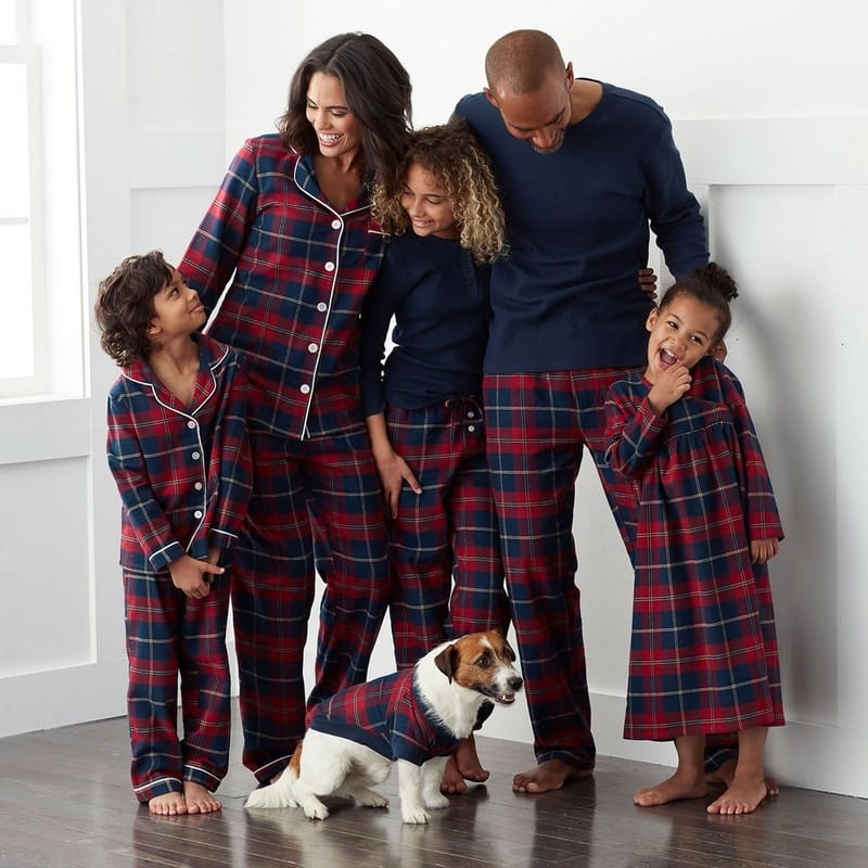 Family Matching Red and Blue Plaid Winter Pajamas