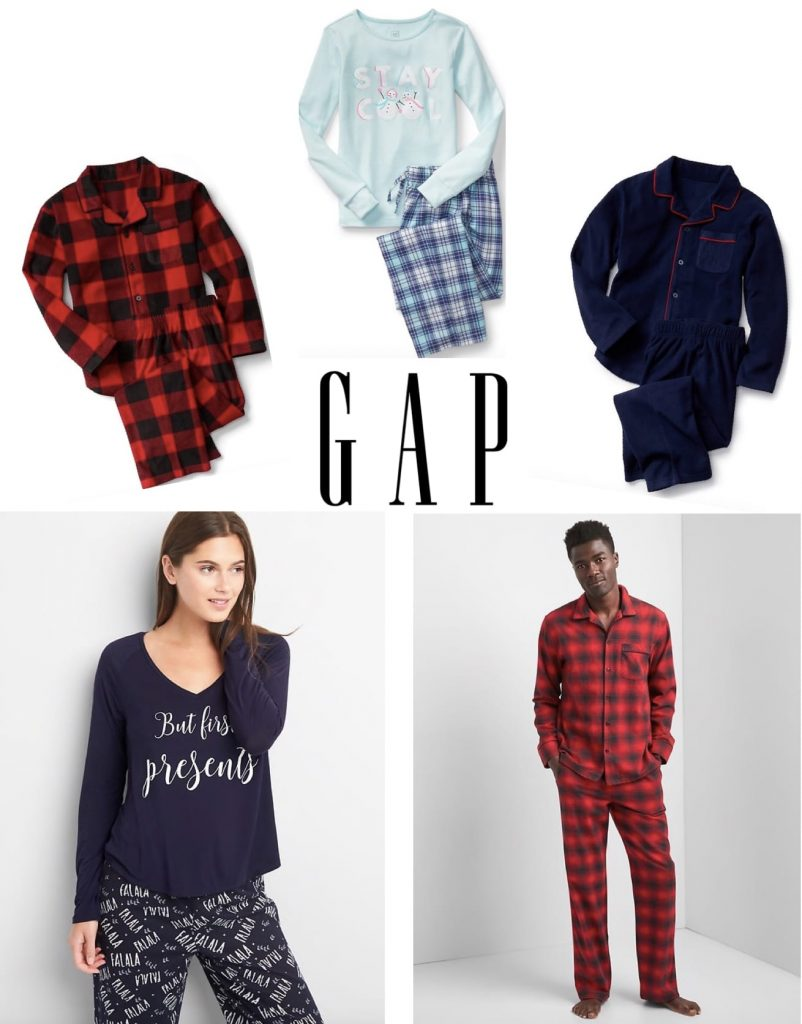 discounted gap pajamas for the whole family