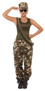 Smiffy's Women's Khaki Camo Costume Female Includes Vest and Trousers