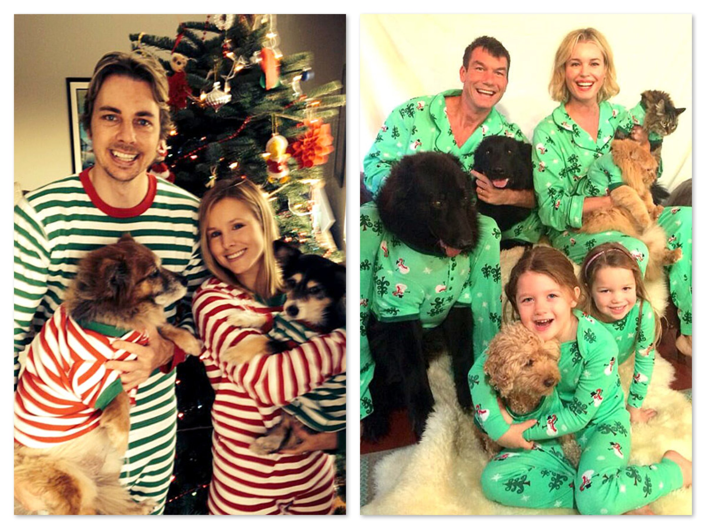 "Celebrities Wearing Matching Christmas Pajamas, Dax Shephard & Kristen Bell, Rebecca Romijn & Jerry O""Connell Family"