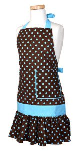 Girls Apron Sadie Blue Chocolate