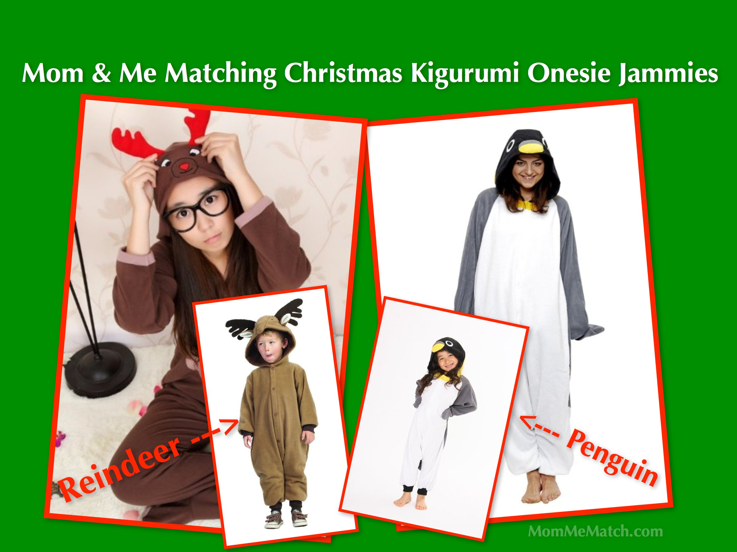 Mom & Me Matching Christmas Kigurumi Onesie Jammies