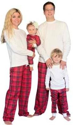 plaid knit family matching pajamas