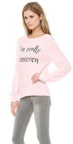 Wildfox I'm Really A Unicorn Baggy Beach Sweatshirt
