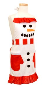 Girl's Holiday SNOWMAN Apron, Christmas Aprons