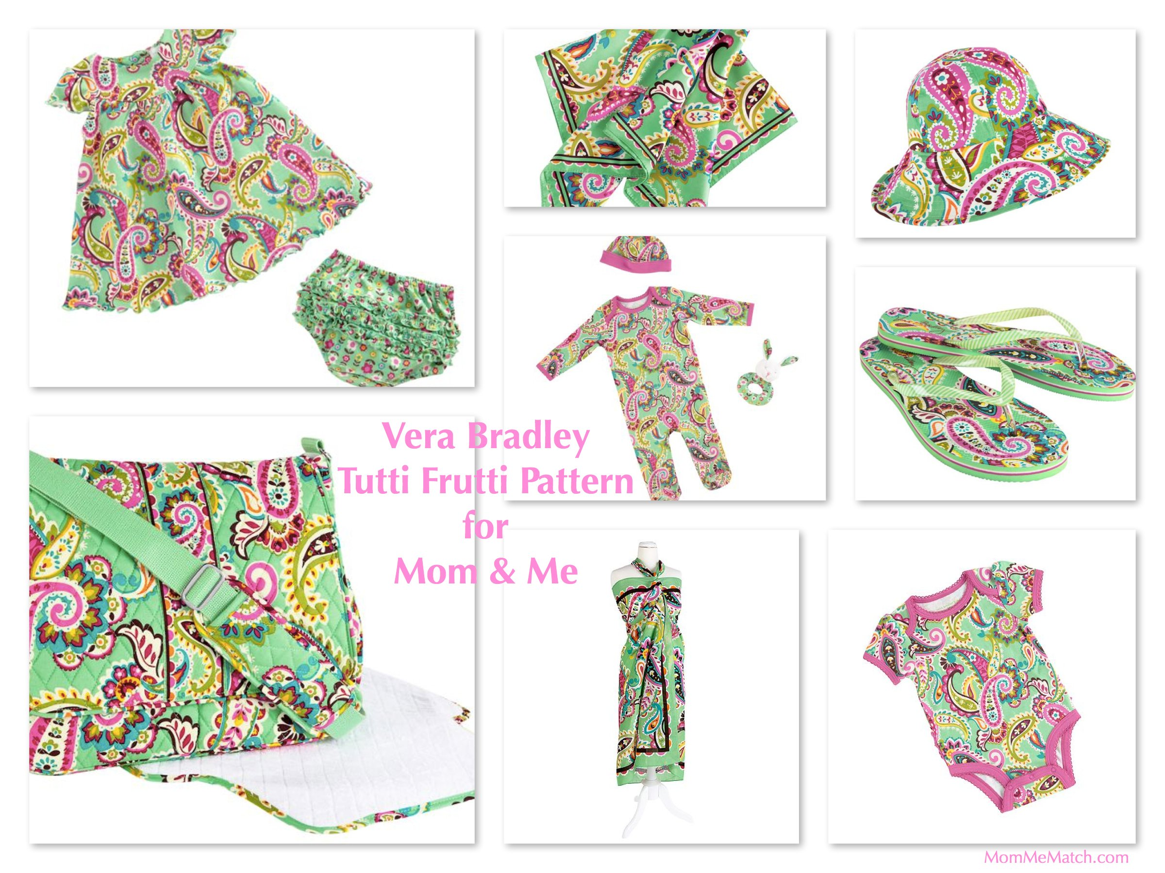 Mom & Me Matching Vera Bradley Tutti Frutti Pattern Baby Bags & Outfits