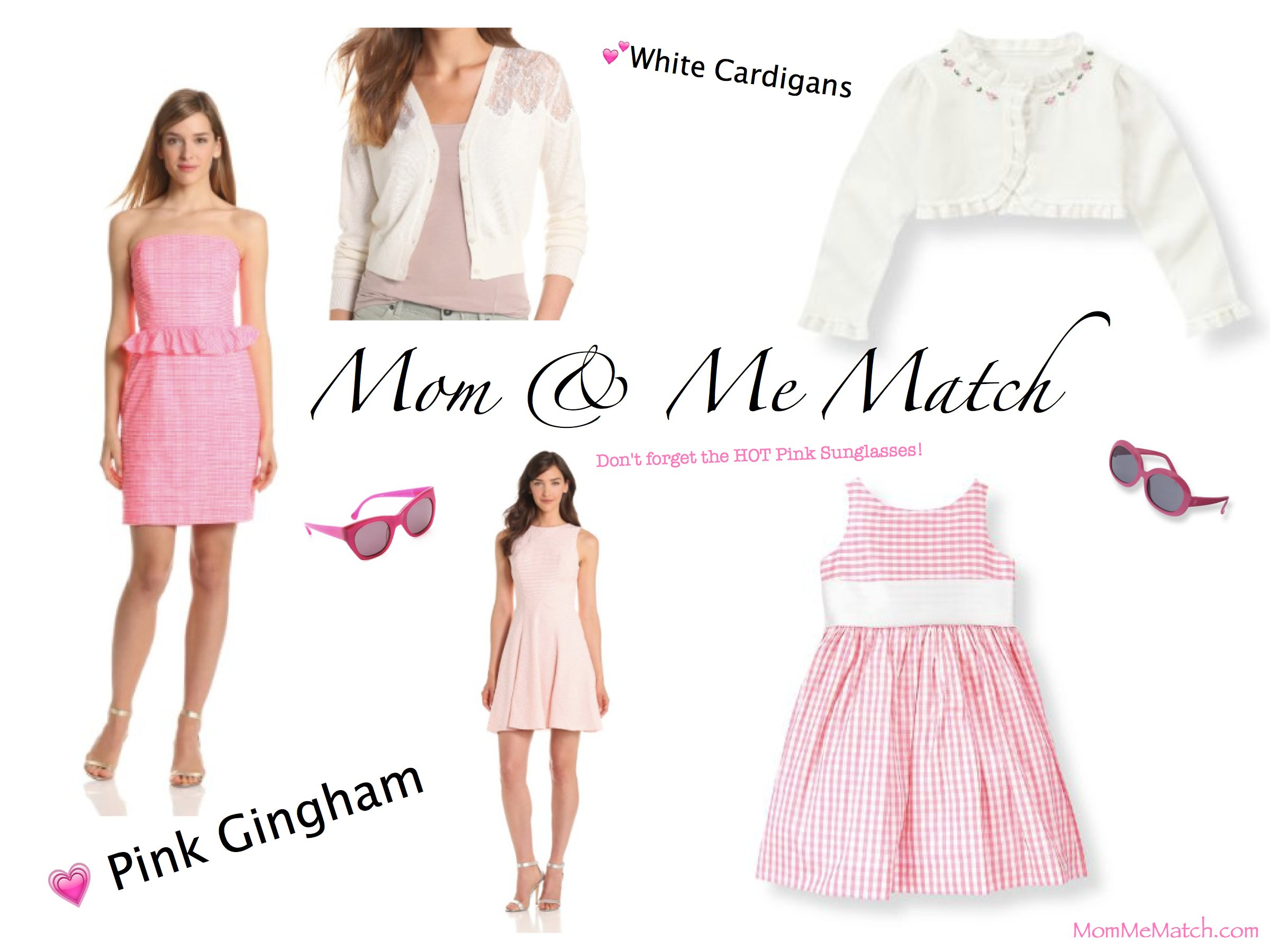Mom & Me Matching Pink Gingham Dresses & White Cardigans