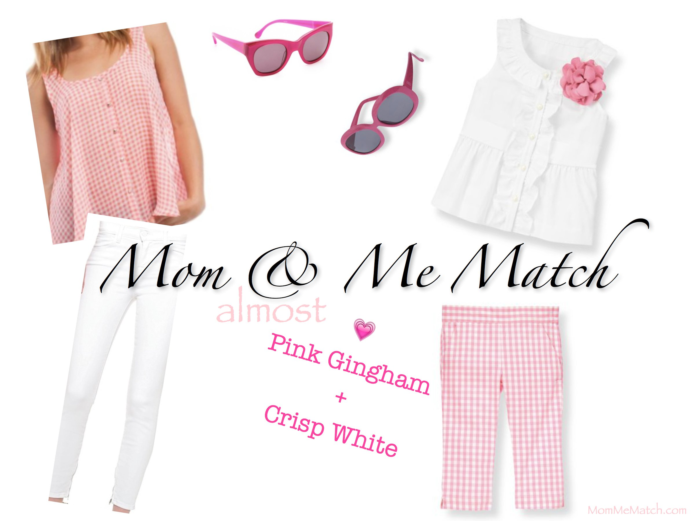 Mom & Me Matching Casual Pink Gingham Outfits