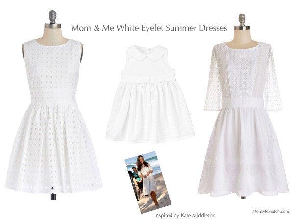 Mom & Me White Eyelet Summer Dresses Inspired by Kate Middleton