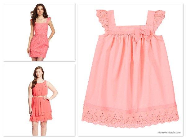 Pink Eyelet Matching Mother Daughter Dresses