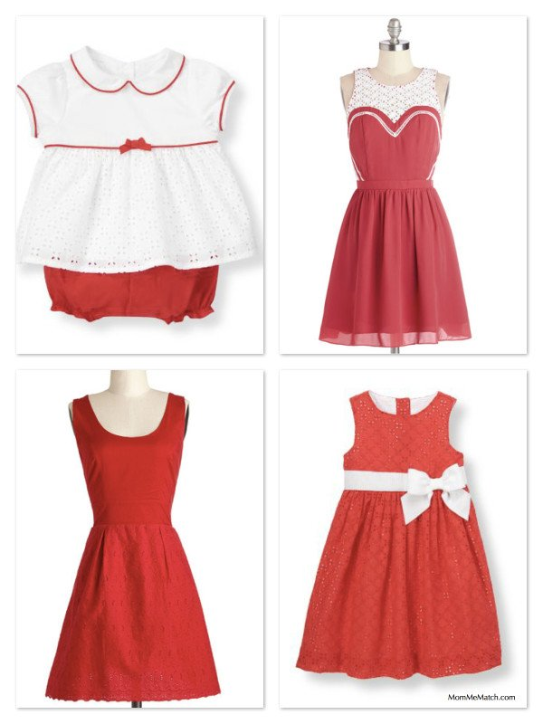 Red & White Matching Mother Daughter Eyelet Dresses