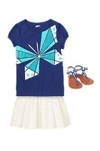 Back to School Girls Pretty Tee & Twirler Outfit