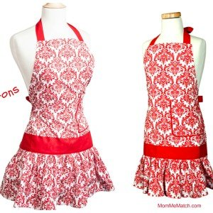 Mom + Me Matching Red & White Damask Aprons, Mother Daughter Matching Aprons