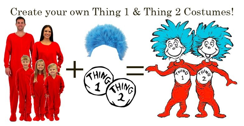 DIY Dr. Seuss Cat in the Hat Thing 1 Thing 2 Costumes