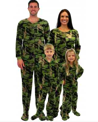 Family Matching Fleece Green Camouflage Pajamas