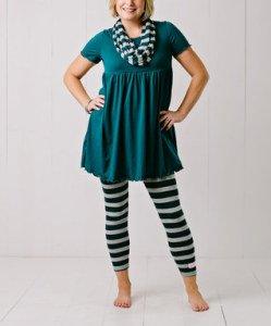 Midnight_Blue_Empire-Waist_Dress_ Leggings_Women