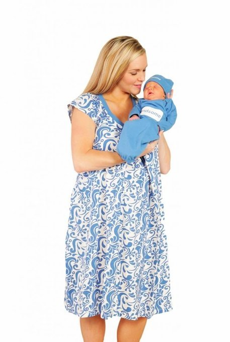 Baby Be Mine Maternity Nursing Nightgown with Matching Baby Romper and Hat - Blue