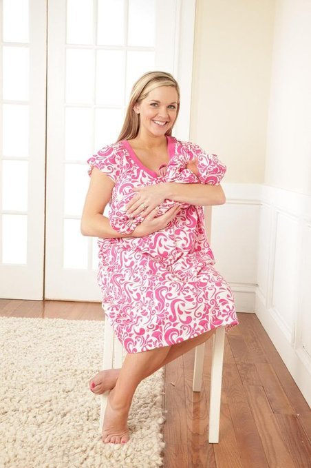 Baby Be Mine Maternity Nursing Nightgown with Matching Baby Romper and Hat - Pink