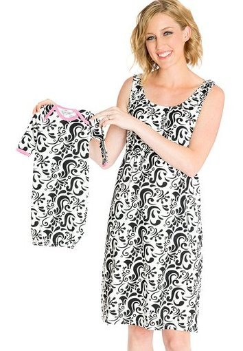 Maternity Nursing Sleeveless Nightgown With Matching Baby Outfit