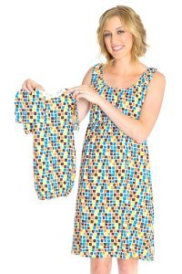 Baby Be Mine Maternity Nursing Sleeveless Nightgown With Matching Baby Outfit Mosaic