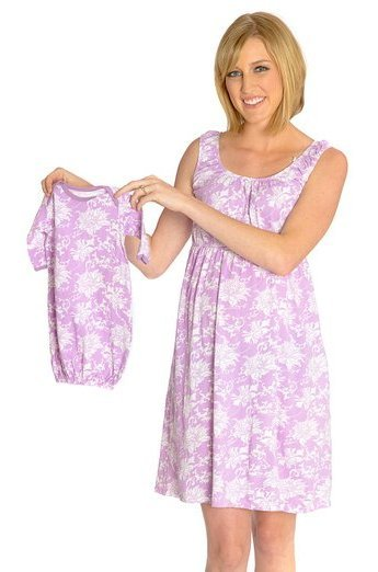 Baby Be Mine Maternity Nursing Sleeveless Nightgown With Matching Baby Outfit Pink