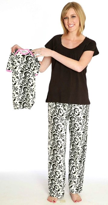 Baby Be Mine Women's Nursing Pajamas Set with Matching Baby Outfit- Black_and_White