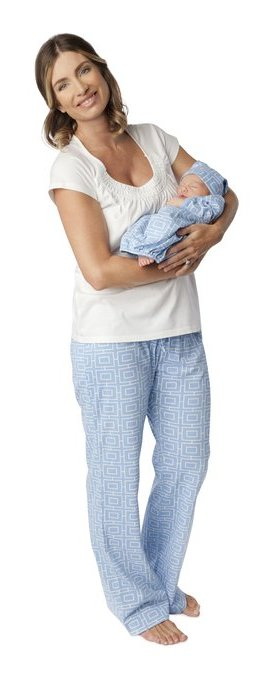 Baby Be Mine Women's Nursing Pajamas Set with Matching Baby Outfit Blue