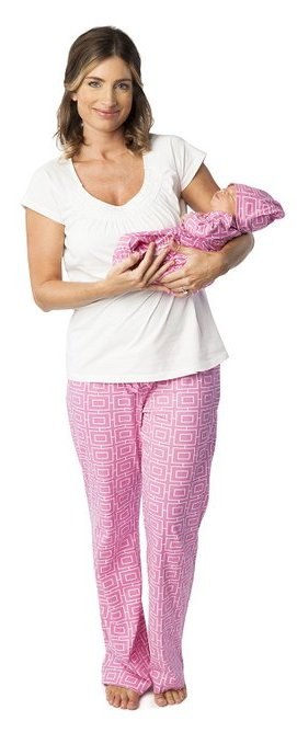 Women's Nursing Pajamas Set with Matching Baby Outfit Pink
