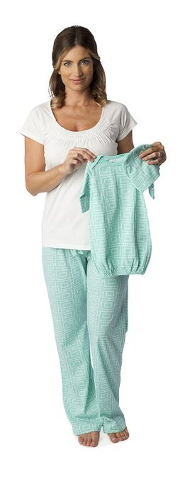 Baby Be Mine Women's Nursing Pajamas Set with Matching Baby Outfit mint