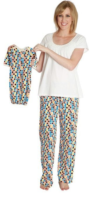 Baby Be Mine Women's Nursing Pajamas Set with Matching Baby Outfit mosaic