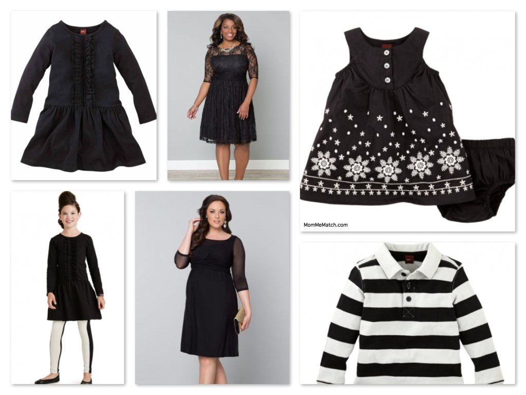 Plus Size Mommy and Me Matching Holiday Outfits in Black