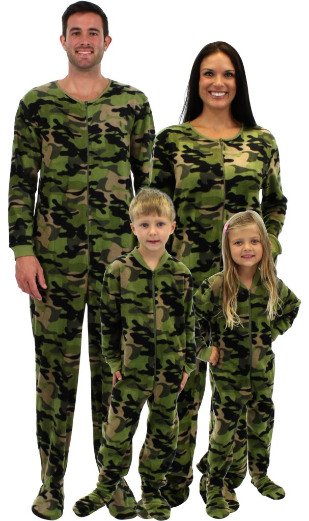 Footed Family Matching Fleece Green Camouflage Pajamas