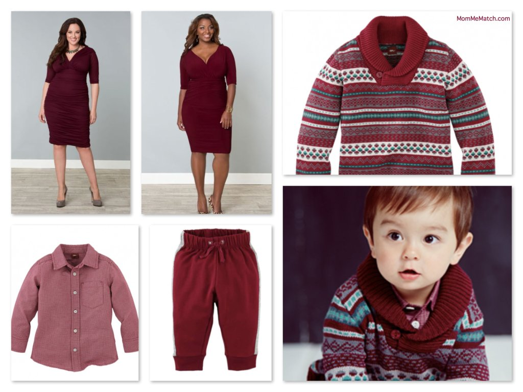 Plus Size Mommy and Me Matching Holiday Outfits in Merlot