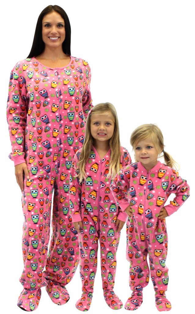 Mommy and Me Matching Pink Fleece Owl Pajamas