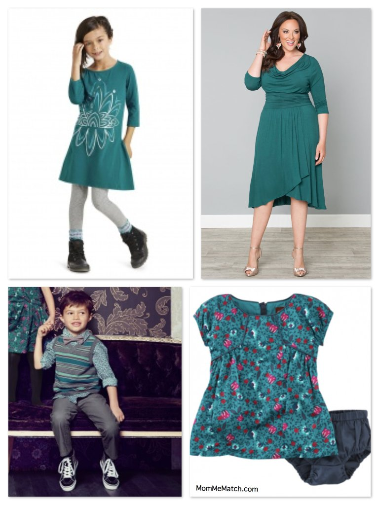 6d4e4619b5f Plus Size Mommy and Me Matching Holiday Outfits in Teal
