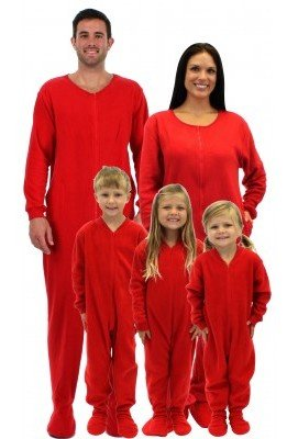 Red Footed Family Matching Fleece Pajamas