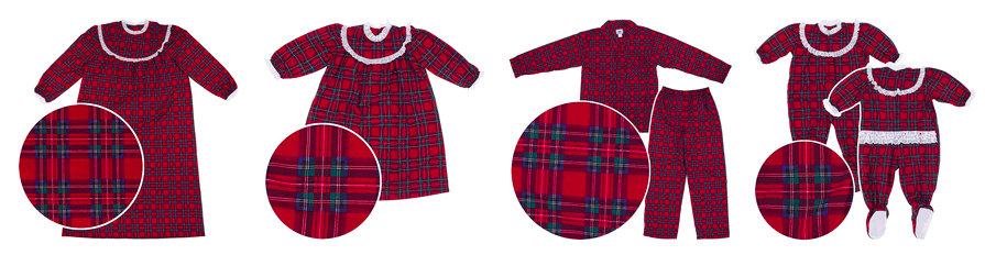 Red Plaid Christmas Pajamas and Nightgowns for the Entire Family