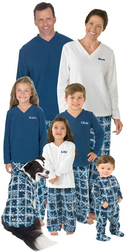 Blue Snowflake Fleece Matching Family Pajamas
