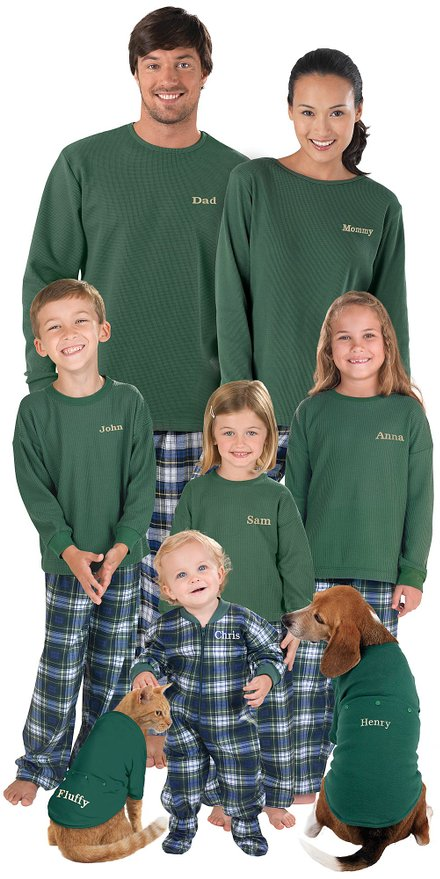 Green Tartan Plaid Flannel Matching Family Pajamas