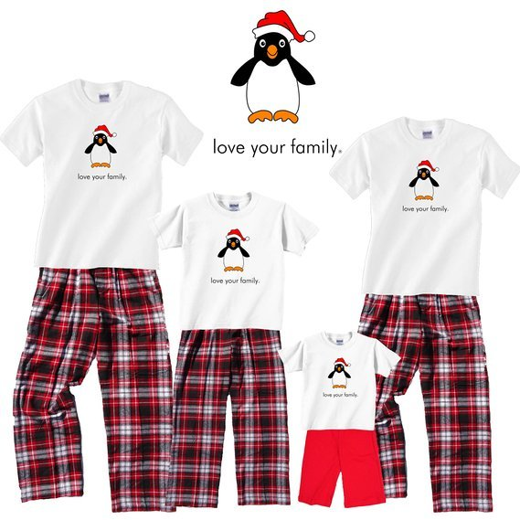 Love Your Family Penguin Matching Family Christmas Pajamas, Summer Christmas Matching Family Pajamas