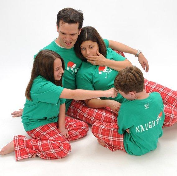 Matching Family Naughty & Nice Short Sleeve Christmas Pajamas