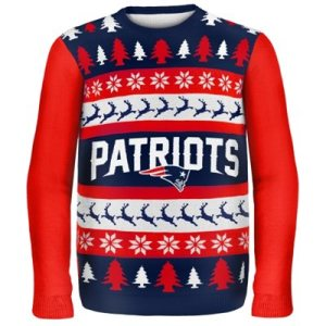 New England Patriots Wordmark Ugly Sweater