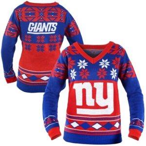 New York Giants Women's Big Logo V-Neck Ugly Sweater