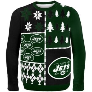 New York Jets Busy Block Ugly Sweater