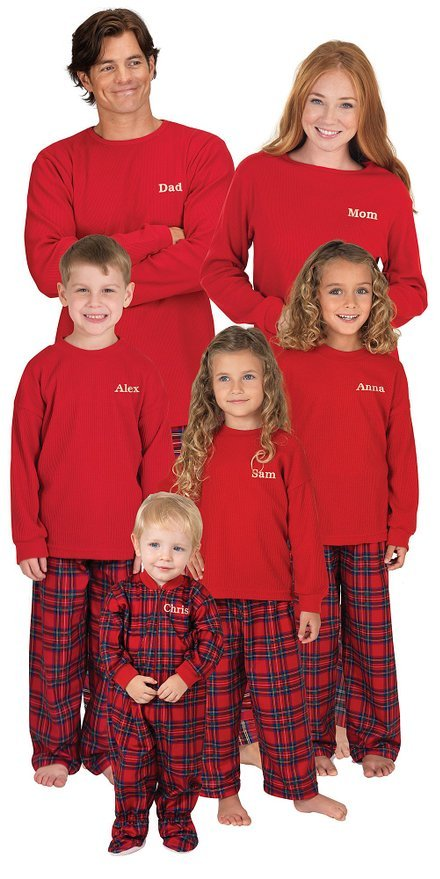Red Cotton Flannel Matching Family Christmas Pajamas
