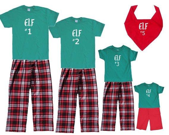 Santa Elves Matching Family Short Sleeve Pajamas