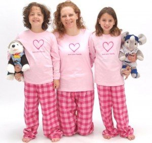 Matching Pink Bubblegum Love Your Family Heart PJs