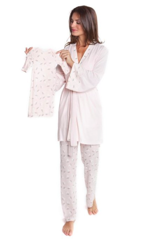 Olian Anne Nursing Cami Pajama Set with Baby Gown, Valentines Day Matching Mommy and Me Pajamas